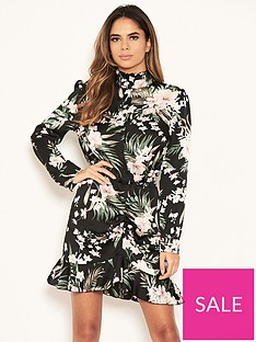 ax-paris-petite-floral-ruched-front-shirt-dress-black
