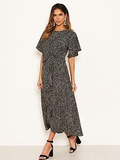 ax-paris-spotty-knot-front-midi-dress-black