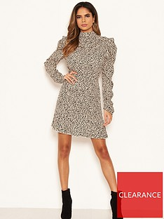 ax-paris-spotty-puff-sleeve-dress-stone