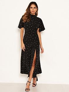 ax-paris-spotty-ruched-side-midi-dress-black