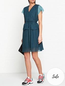 kenzo-metallic-mini-dress-teal