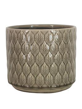 gisela-graham-leaf-effect-ceramic-pot