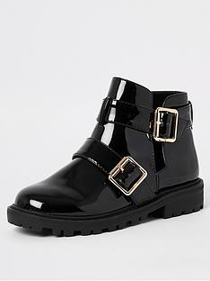 river-island-girls-patent-chunky-ankle-boot-black