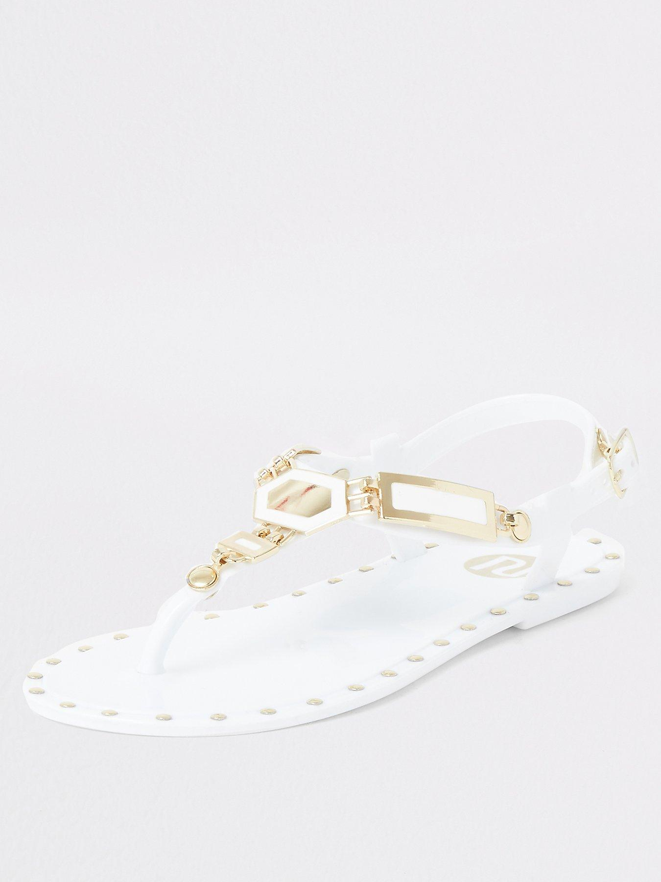 River Island Girls white studded jelly sandals