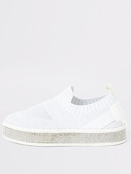 river-island-girls-diamante-knitted-trainers-white