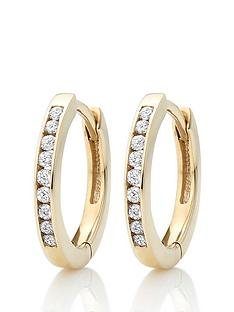 beaverbrooks-9ct-gold-diamond-hoop-earrings