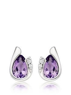 beaverbrooks-9ct-white-gold-diamond-amethyst-stud-earrings