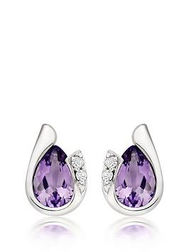 beaverbrooks-9ct-white-gold-diamond-amethyst-stud-earrings