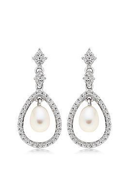 beaverbrooks-silver-cubic-zirconia-freshwater-pearl-drop-earrings