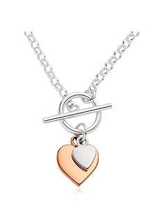 beaverbrooks-silver-and-rose-gold-plated-double-heart-t-bar-necklace