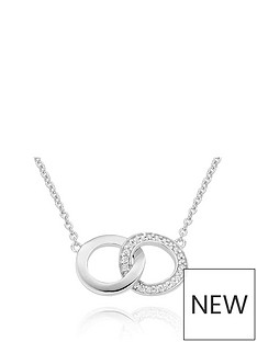 beaverbrooks-silver-cubic-zirconia-double-circle-necklace