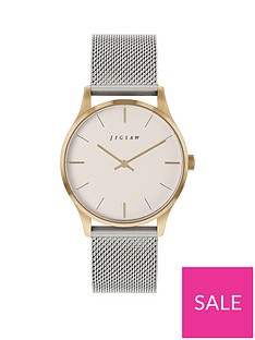 jigsaw-jigsaw-white-and-gold-detail-dial-stainless-steel-mesh-strap-ladies-watch