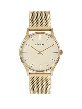 jigsaw-jigsaw-champagne-dial-gold-stainless-steel-mesh-strap-ladies-watch