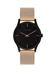 jigsaw-jigsaw-black-dial-rose-gold-stainless-steel-mesh-strap-ladies-watch