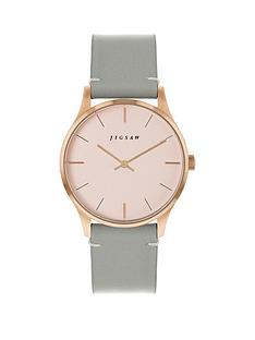 jigsaw-jigsaw-blush-and-rose-gold-detail-dial-grey-leather-strap-ladies-watch