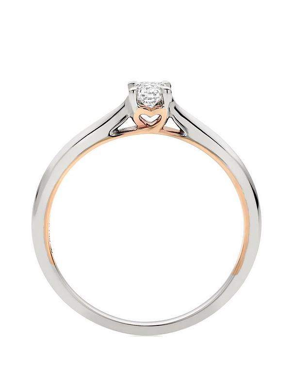 Beaverbrooks 18ct White Gold And Rose Gold Diamond Rose Hearts Ring Very Co Uk