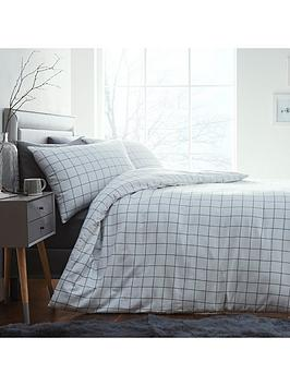 silentnight-contemporary-check-brushed-cotton-duvet-cover-set-white