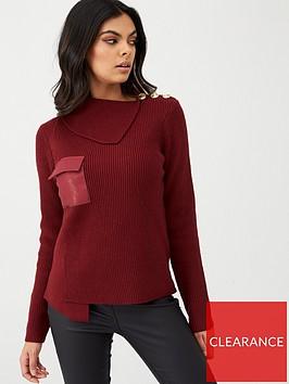 river-island-river-island-pu-pocket-knitted-jumper--oxblood