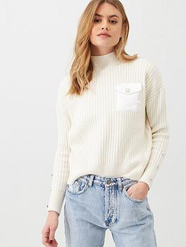 river-island-satin-pocket-knitted-jumper-cream