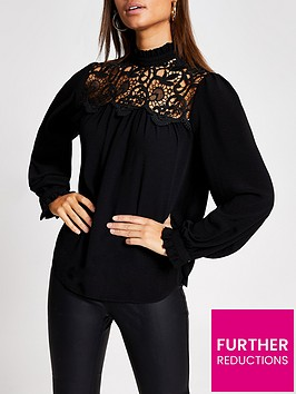 river-island-long-sleeve-lace-top--black