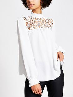 river-island-long-sleeve-lace-top--white