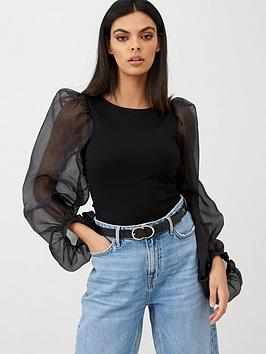 river-island-extreme-organza-sleeve-top-black