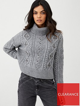 river-island-cable-knit-embellished-jumper-grey