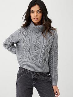river-island-river-island-cable-knit-embellished-jumper-grey