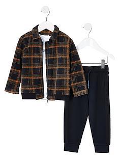 river-island-mini-mini-boys-checked-bomber-tshirt-and-trouser-set--mulit