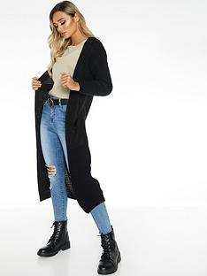 quiz-knit-long-length-cardigan-black