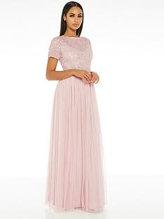 quiz-hand-embellished-sequin-round-neck-tulle-bridesmaid-maxi-dress-pink