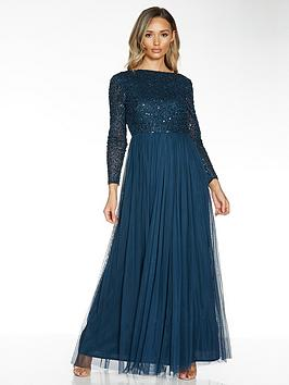 quiz-hand-embellished-sequin-long-sleeve-tulle-bridesmaid-maxi-dress-blue