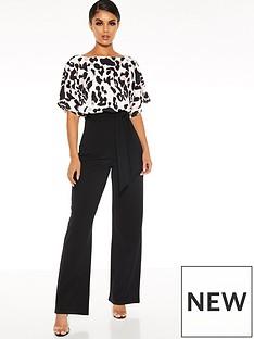 quiz-scuba-crepe-animal-print-batwing-sleeve-palazzo-jumpsuit-black