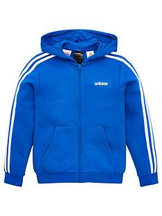 adidas-childrens-3-stripe-full-zip-hoodie-blue