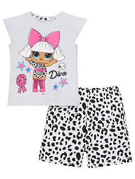 lol-surprise-girls-diva-t-shirt-and-mono-leopard-short-pjs-multi
