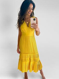 michelle-keegan-pleated-pinafore-midi-dress-yellow