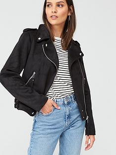 warehouse-suedette-biker-jacket-black