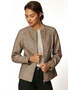 wallis-petite-gothic-pu-jacket-camel