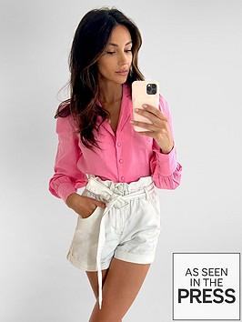 michelle-keegan-blouson-sleeve-linen-shirt-pink