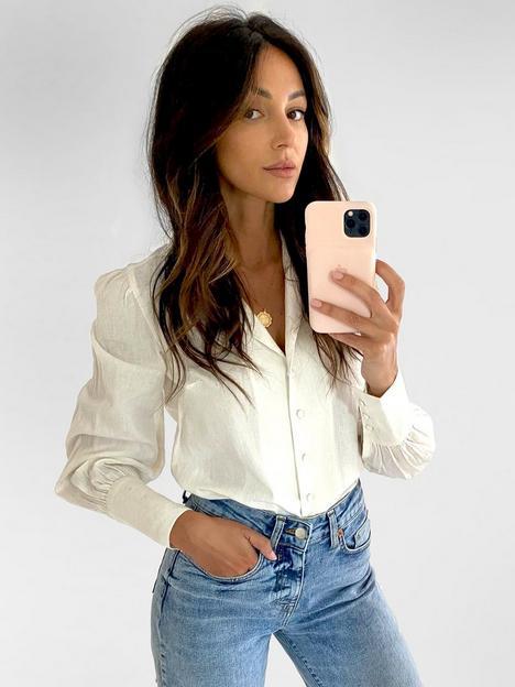 michelle-keegan-blouson-sleeve-linen-shirt-ivory