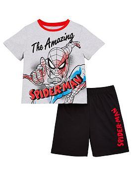 spiderman-boys-sketch-t-shirt-and-shorts-pjs-grey