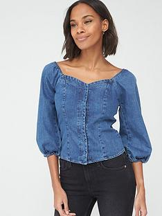 v-by-very-covered-button-denim-top-mid-wash