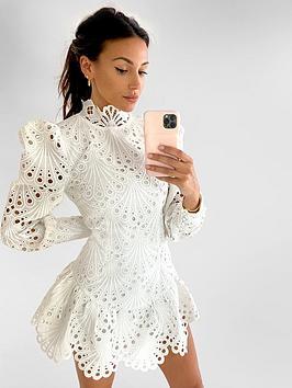 michelle-keegan-premium-high-neck-lace-dress-ivory