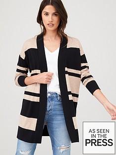 wallis-stripe-long-line-cardigan-blackstone