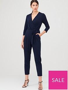 wallis-three-quarter-sleeve-wrap-jumpsuit-ink