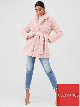 in-the-style-in-the-style-fur-tie-waist-coat-pink