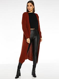 quiz-knit-long-sleeve-long-length-cardigan-rust