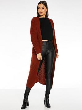 quiz-knit-long-sleeve-long-length-cardigan-rust