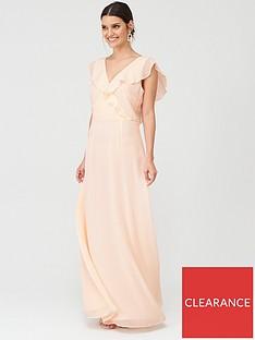 warehouse-frill-wrap-button-maxi-dress
