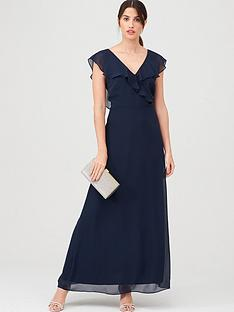 warehouse-frill-wrap-button-maxi-dress-navy